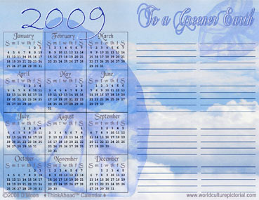 TimeAhead Calendar: To a Greener Earth; April 2009 - October 2010 (#02)
