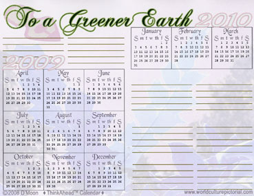 TimeAhead Calendar: To a Greener Earth; April 2009 - October 2010 (#03)