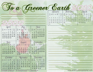 TimeAhead Calendar: To a Greener Earth; April 2009 - October 2010 (#04)