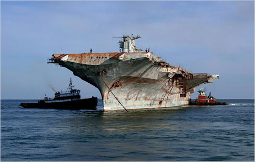 U.S.S. Oriskany, aircraft carrier, to be sunk in the Gulf of Mexico off Florida to become an artificial reef