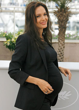 glowing Angelina Jolie expectant with twins at the 2008 Cannes Film Festival