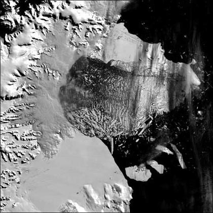 the northern section of the Larsen B ice shelf, a large floating ice mass on the eastern side of the Antarctic Peninsula, shattered and separated from the continent on March 5, 2002, and represents a major impact that climate warming can have on the region