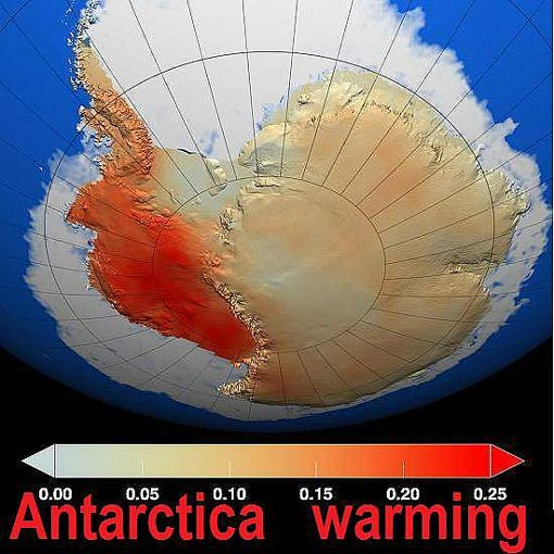 this illustration depicts the warming that scientists have determined has occurred in West Antarctica during the last 50 years, with dark red showing the area that has warmed the most