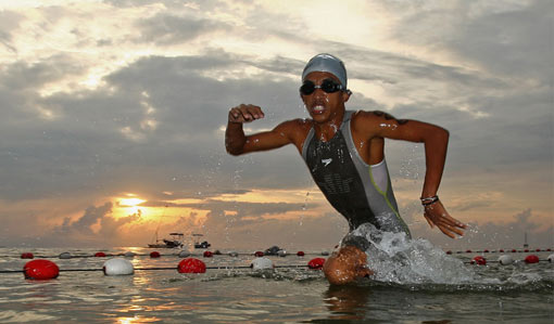 Andi Edinata of Indonesia comes out of the water during the Men's Triathlon on day nine of the 2008 Asian Beach Games at Mertasari Beach on October 26, 2008