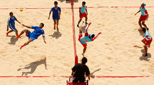 Indonesian team against Myanmar, Asian Beach Games 2008, Bali, Indonesia