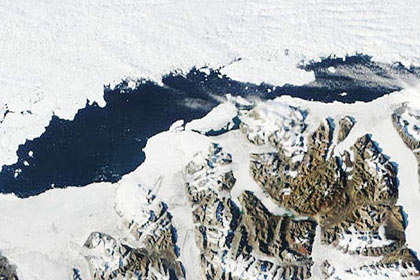 Mueller said the Markham Ice Shelf broke off in August and now the 19-square-mile shelf is adrift in the Arctic Ocean. In 2005, the Ayles shelf pulled away from Ellesmere. This photo shows the Ayles collapse on Aug. 13, 2005. The shelf drifted about 30 miles before it froze into sea ice