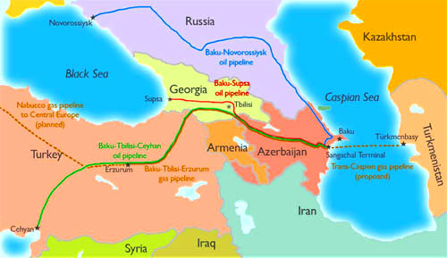 The Baku-Tbilisi-Ceyhan pipeline (green) is a key pipeline running from Baku, second longest oil pipeline in the world