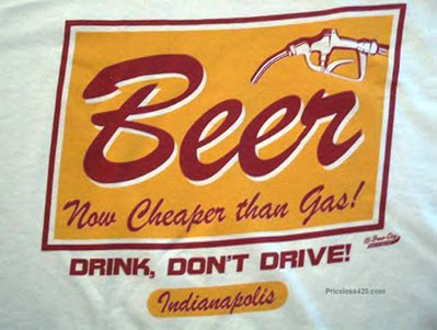Banner: Beer now cheaper than Gas! Drink, don't drive!