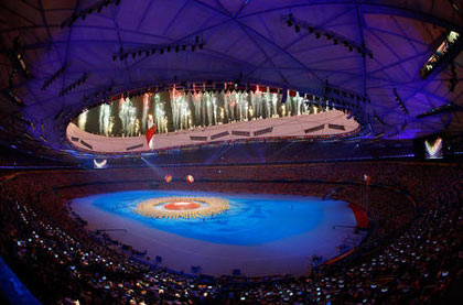 general view of the festivities in Beijing National Stadium during the Closing Ceremony for the Beijing 2008 Olympic Games on August 24, 2008 in Beijing, China