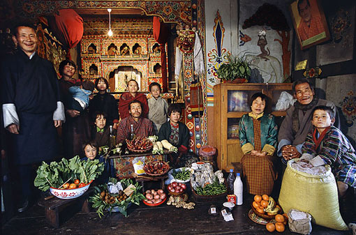 Bhutan: The Namgay family of Shingkhey Village; food expenditure for one week: 224.93 ngultrum or $5.03; family recipe: mushroom, cheese and pork