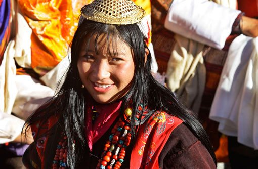 Bhutanese woman in traditional attire