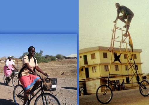 left: women on bike; right: Ghana circus bike