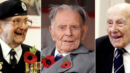 World War I Veterans Bill Stone, 108, Harry Patch, 110, and Henry Allingham, 112