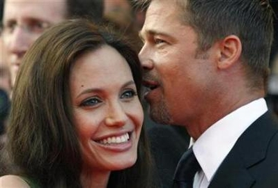 Voice actor Angelina Jolie and Brad Pitt arrive for the screening of the animated film 'Kung Fu Panda'
