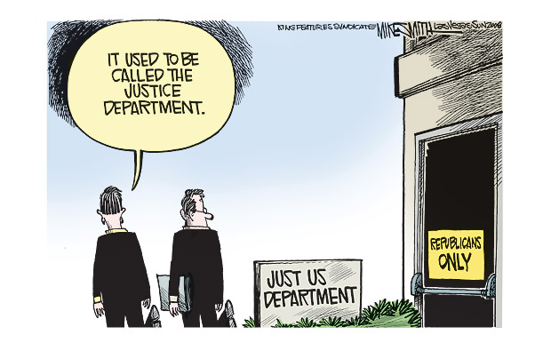 Cartoon: 'It used to be called the Justice Department'