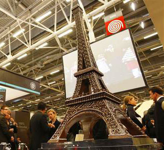 a chocolate model of the Eiffel Tower is displayed at the 14th Salon du Chocolat (Paris Chocolate Show) in Paris October 28, 2008