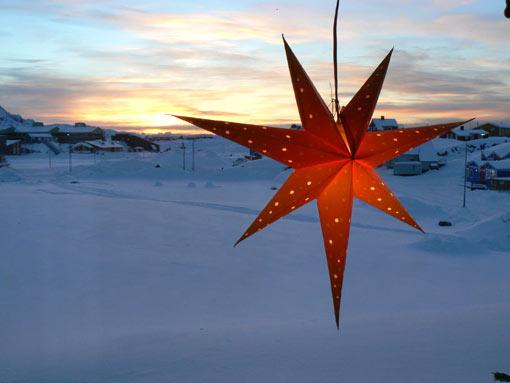 December. Christmas stars. Sisimiut