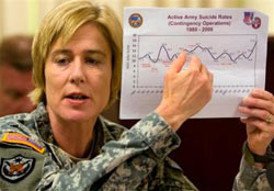 Col. Elspeth Ritchie, a doctor in the Office of the Army Surgeon General, discusses efforts to study and understand suicide among American soldiers in Iraq and Afghanistan