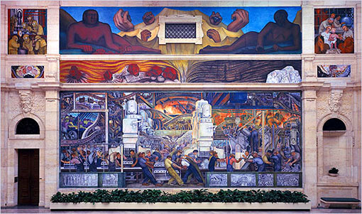 one of the panels for the mural, Detroit Industry, by Diego Rivera, at The Detroit Institute of the Arts. Several of our veteran museums are loosening up the rigid values and temple-of-art models that shaped them, and replacing these with a new 'peoples museum' model, unsacred in atmosphere, fluid in values, with complicated answers to the question of what museums are