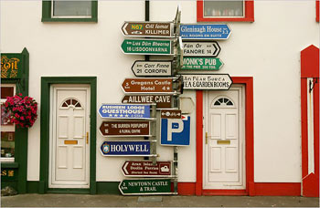 Street signs in Ballyvaughan in the west of Ireland