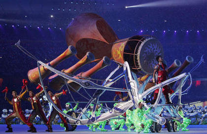 Drummers performs during the Closing Ceremony for the Beijing 2008 Olympic Games on August 24, 2008 in Beijing, China