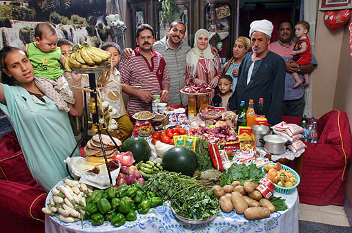 Egypt: The Ahmed family of Cairo; food expenditure for one week: 387.85 Egyptian Pounds or $68.53; family recipe: okra and mutton