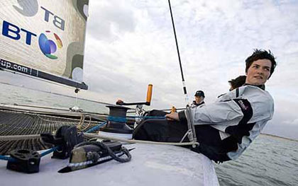 all aboard: Ellen MacArthur onboard her BT sponsored boat is anticipating the best Vendee race ever