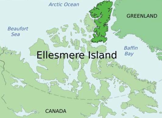 map showing Ellesmere Island