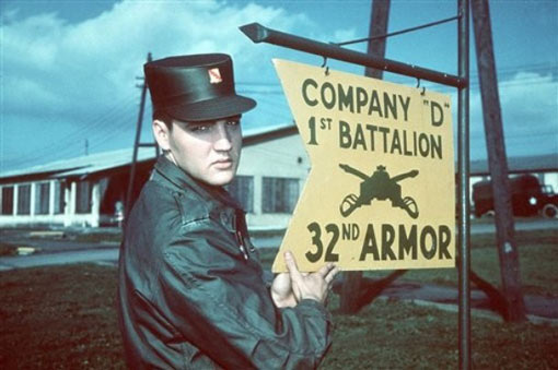 Elvis Presley is seen in this undated file photo in Army uniform at Company 'D' 1st Battalion 32nd Armor, barracks area, in Friedberg, Germany