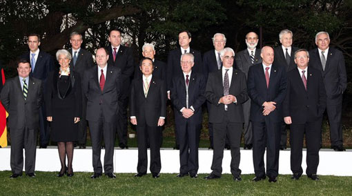 G7 finance ministers (front row) and central bank governors (back row) pose for a group picture during the Group of Seven Finance Ministers' and Central Bank Governors' Meeting at Mita Kaigisho on February 9, 2008 in Tokyo, Japan