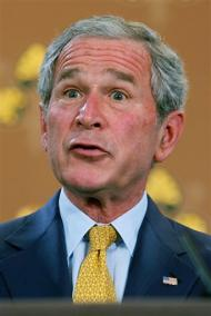 U.S. President George W. Bush addresses a press conference at the Foreign and Commonwealth Office in London