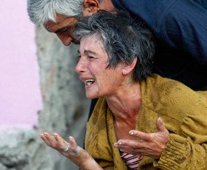 Georgian refugee cries in Gori, about 50 miles from Tbilisi, Aug. 11, 2008