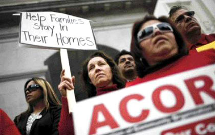 Rally in Sacramento yesterday to ask California lawmakers to stop home foreclosures and help modify loans