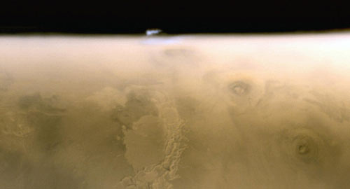 an isolated water ice cloud extending more than 30 kilometers (more than 18 miles) above the Martian surface