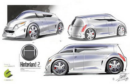 Hinterland 1 Concept Car: electric minivan with Prius-like aerodynamics