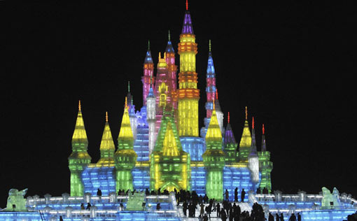 castle made of ice in Harbin, China, at 25th Harbin International Ice and Snow Festival