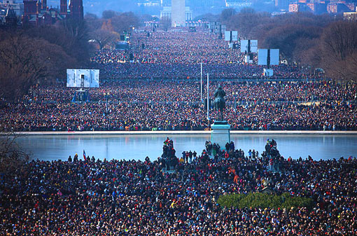over a million people gathered on the National Mall for the Inauguration