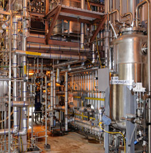 insides of a new cellulosic ethanol plant that converts agricultural waste into fuel