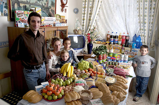 Italy: The Manzo family of Sicily; Food expenditure for one week: 214.36 Euros or $260.11; Favorite foods: fish, pasta with ragu, hot dogs, frozen fish sticks
