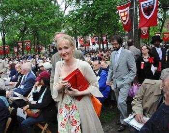 Rowling makes her way to the stage before commencement address at Harvard University, June 5, 2008 in Cambridge, Mass.