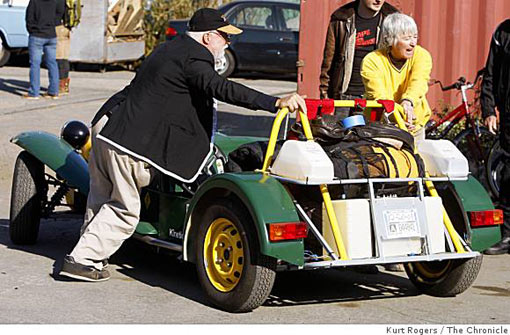 Jack McCornack and Sharon Westcott of Cave Junction, Ore., back their canola-powered car to the starting point in Berkeley