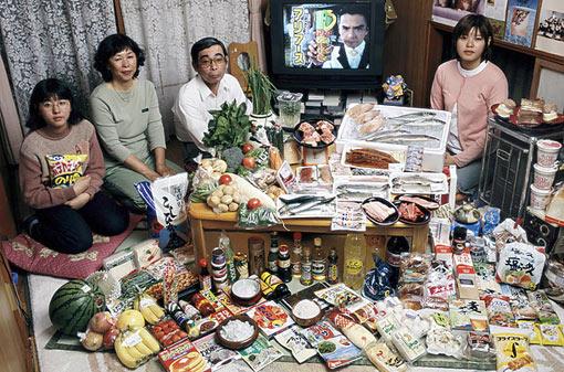 Japan: The Ukita family of Kodaira City; Food expenditure for one week: 37,699 Yen or $317.25; Favorite foods: sashimi, fruit, cake, potato chips