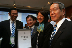 Japanese Olympic Committee president Tsunekazu Takeda and delegates of the Tokyo 2016 team