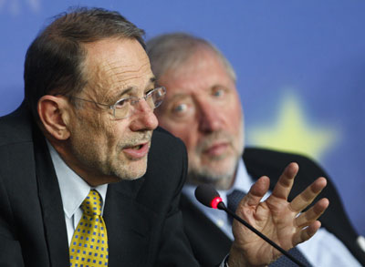 EU foreign policy chief Javier Solana and Slovenia's Foreign Minister Dimitrij Rupel hold joint news conference in Luxembourg June 16, 2008