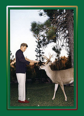 Holiday Greetings from Caroline Kennedy: Photo of President Kennedy feeding bread to a deer in Lassen National Park