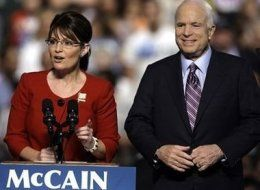 John McCain (R) with Sarah Palin