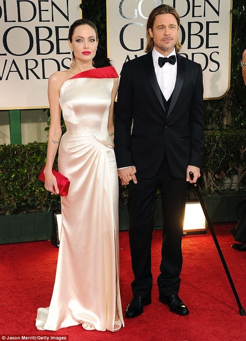 Brad Pitt and Angelina Jolie win award for best dressed couple at 2012 Golden Globes