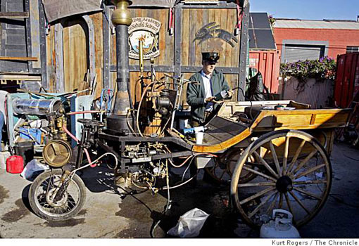 Kimric Smythe fires up Kristy's Flyer, a vegetable-oil-fired steam carriage, before the start of the three-day competition for alternatively fueled vehicles last Saturday in Berkeley