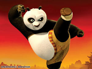 Kung Fu Panda - panda Po admires martial-arts heroes