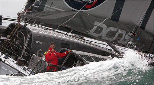 Marc Thiercelin had to pull out of the Vendée Globe race because of damage to his yacht's mast